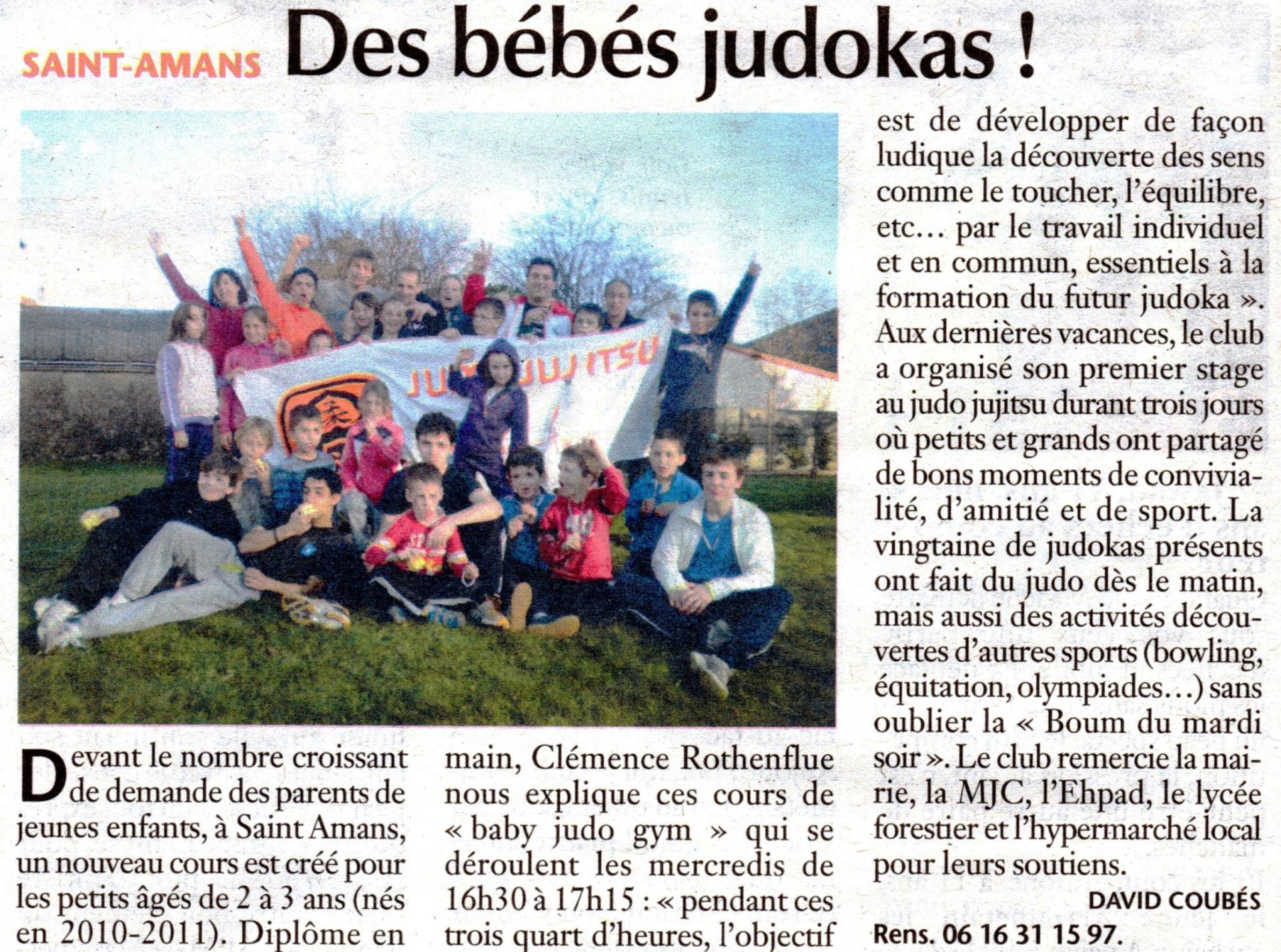 Article Journal Des bébés judokas
